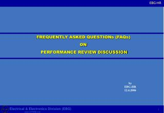 FREQUENTLY ASKED QUESTIONs (FAQs) ON  PERFORMANCE REVIEW DISCUSSION