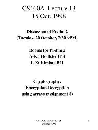 CS100A  Lecture 13 15 Oct. 1998
