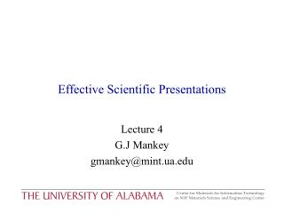 Effective Scientific Presentations