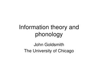 Information theory and phonology