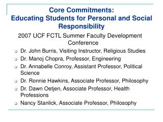 Core Commitments:  Educating Students for Personal and Social Responsibility