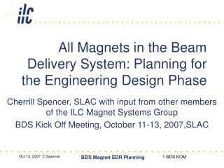All Magnets in the Beam Delivery System: Planning for the Engineering Design Phase