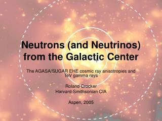 Neutrons (and Neutrinos) from the Galactic Center