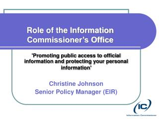 Role of the Information Commissioner's Office
