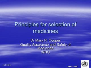 Principles for selection of medicines