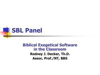 SBL Panel