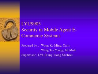 LYU9905 Security in Mobile Agent E-Commerce Systems