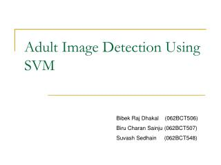 Adult Image Detection Using SVM