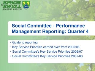 Social Committee - Performance Management Reporting: Quarter 4