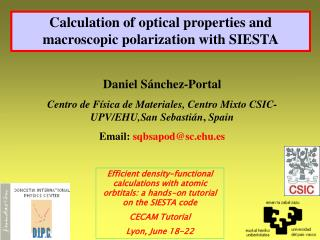 Calculation of optical properties and macroscopic polarization with SIESTA
