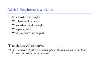 Week 7: Requirements validation
