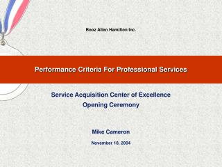 Performance Criteria For Professional Services
