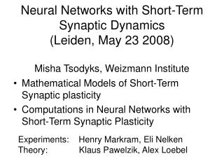 Mathematical Models of Short-Term Synaptic plasticity