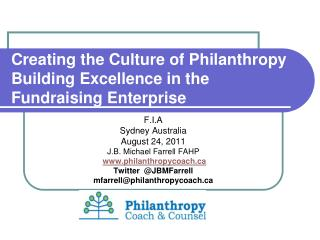 Creating the Culture of Philanthropy Building Excellence in the Fundraising Enterprise