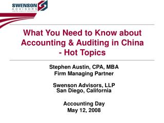What You Need to Know about Accounting & Auditing in China - Hot Topics