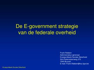 De E-government strategie van de federale overheid