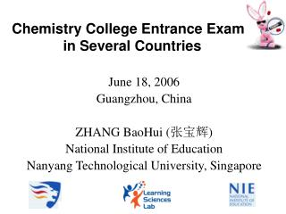 Chemistry College Entrance Exams  in Several Countries