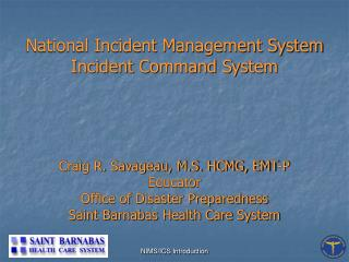 National Incident Management System Incident Command System