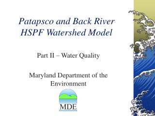 Patapsco and Back River  HSPF Watershed Model