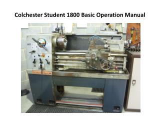 Colchester Student 1800 Basic Operation Manual