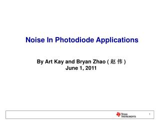 Noise In Photodiode Applications