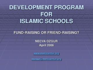 DEVELOPMENT PROGRAM  FOR  ISLAMIC SCHOOLS