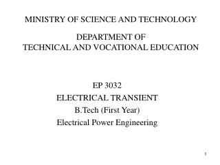 MINISTRY OF SCIENCE AND TECHNOLOGY DEPARTMENT OF TECHNICAL AND VOCATIONAL EDUCATION