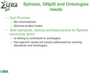 Ephesis, GNpIS and Ontologies needs