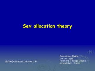 Sex allocation theory