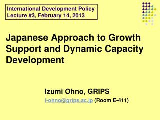 Japanese Approach to Growth Support and Dynamic Capacity Development