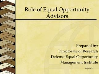 Role of Equal Opportunity Advisors