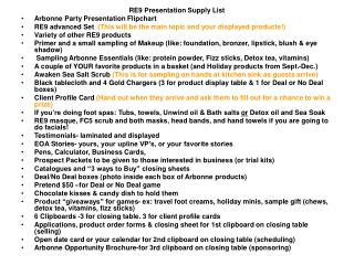 RE9 Presentation Supply List Arbonne Party Presentation Flipchart