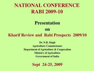 NATIONAL CONFERENCE  RABI 2009-10