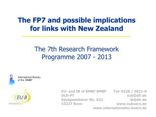 The FP7 and possible implications for links with New Zealand