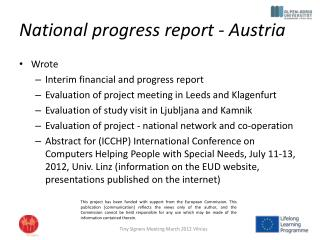 National progress  report - Austria