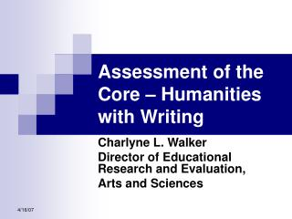 Assessment of the Core – Humanities with Writing