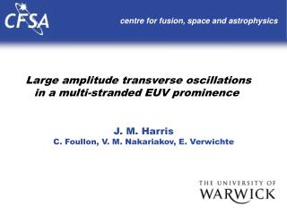 Large amplitude transverse oscillations in a multi-stranded EUV prominence