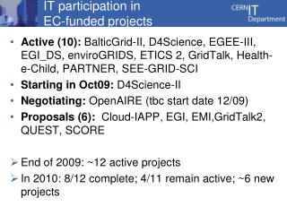IT participation in EC-funded projects