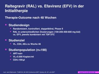 Raltegravir (RAL) vs. Efavirenz (EFV) in der Initialtherpie