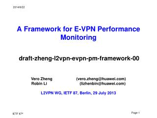 A Framework for E-VPN Performance Monitoring