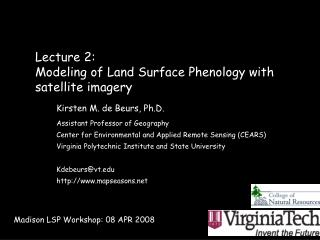 Lecture 2:  Modeling of Land Surface Phenology with satellite imagery