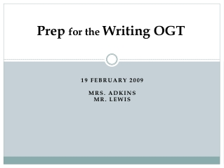 Prep for the Writing OGT