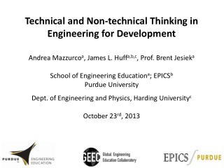 Technical and Non-technical  T hinking in Engineering for Development