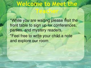 Welcome to Meet the Teacher