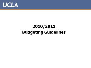 2010/2011 Budgeting Guidelines
