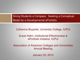 Giving Students a Compass:  Seeking a Conceptual Model for a Developmental  ePortfolio