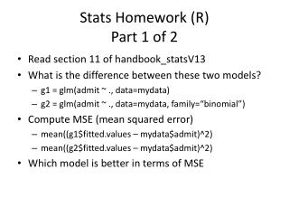 Stats Homework (R ) Part 1 of 2
