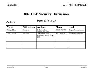 802.11ak Security Discussion