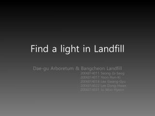Find a light in Landfill