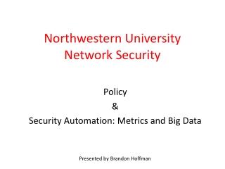 Northwestern University Network Security